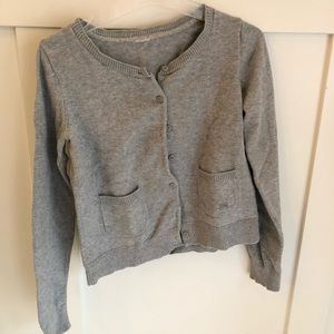 Grey Cotton Girl's Cardigan with Bow Pocket Detail
